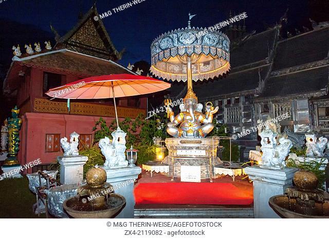 Wat Srisupahn Temple at night, Exterior, Chiang Mai, Thailand