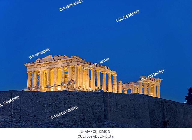 The Parthenon illuminated by floodlight, Acropolis of Athens, Greece, Europe
