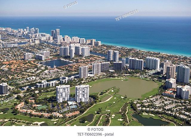 USA, Florida, Miami cityscape as seen from air