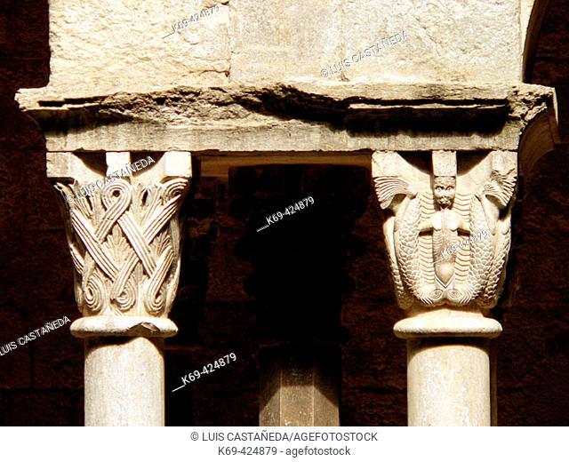 Capitals of the Cloister. Sant Pere de Galligants Monastery. Gerona (Catalunya) Spain
