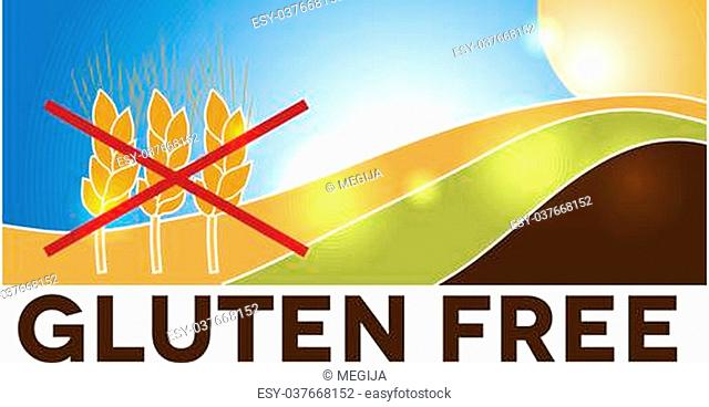 Gluten free design, landscape with wheat crossed with red lines