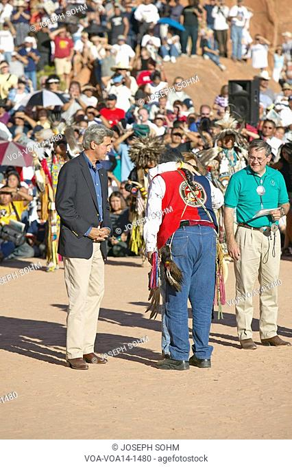 Embrace of Teresa Heinz Kerry and Intertribal Council President, Gallup, NM