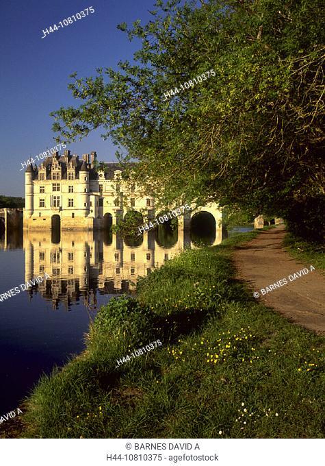 castle, Chenonceau Chateau, France, Europe, Indre et Loire, Loire Valley, moated, river, River, shore, way
