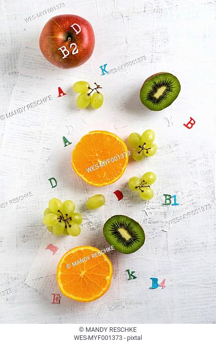 Banane, apple, orange, kiwi and green grapes, different vitamins