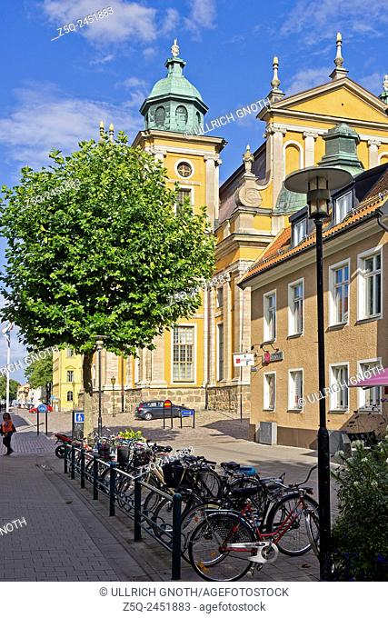 Street scene overlooking the Cathedral, Kalmar, Sweden