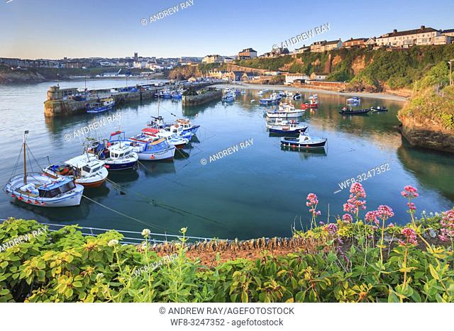 The fishing harbour at the popular tourist resort of Newquay, on the North coast of Cornwall
