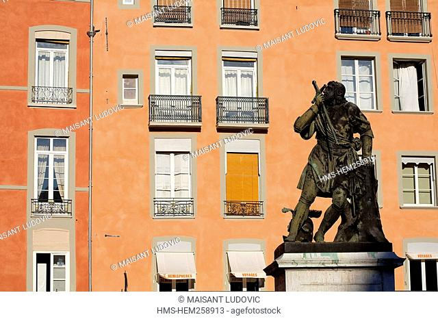 France, Isere, Grenoble, Saint Andre Square, Bayard Knight Without Fear and Without Reproach Statue dated 1823