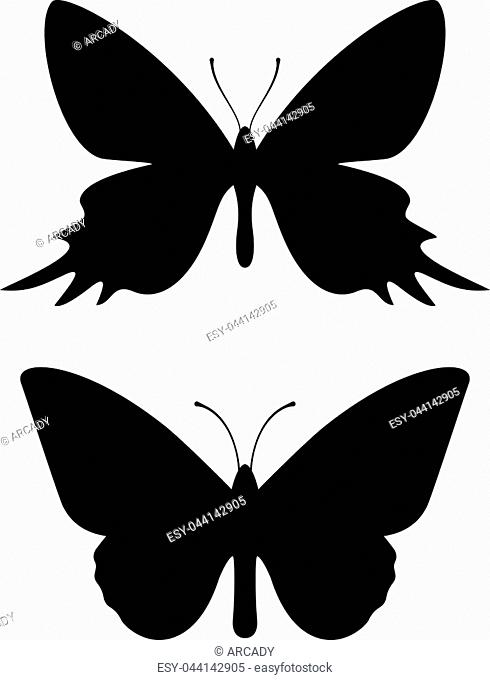 Butterfly black silhouette icons isolated on white background