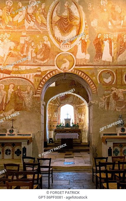 THE RELIGIOUS FRESCOES IN THE SAINT-MARTIN DE VIC CHURCH, LISTED IN 1850 THANKS TO GEORGE SAND'S INTERVENTION, THE ROMANTICISM OF GEORGE SAND'S BLACK VALLEY IN...