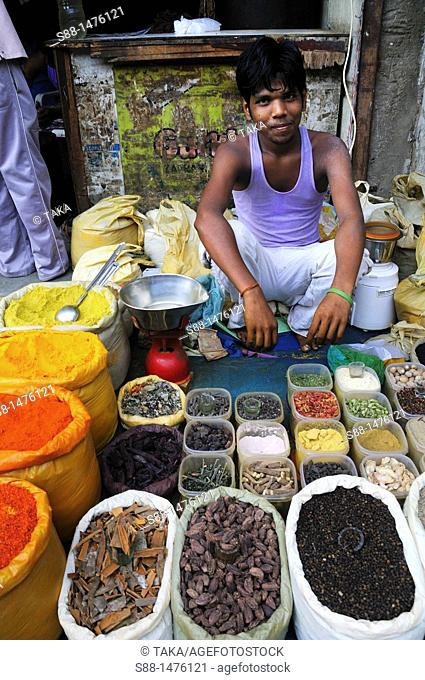 Young man selling spice at the market, New Delhi, India
