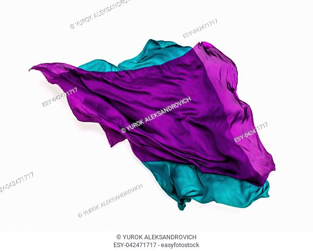 abstract pieces of green and purple fabric flying, design element