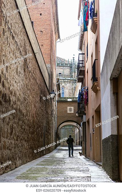 Man walking the dog along Encarnacion Street at medieval old town of Plasencia, Caceres, Extremadura, Spain