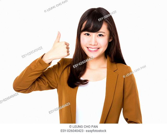 Asian Businesswoman show with thumb up