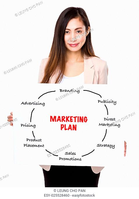 Young businesswoman holding a board showing marketing plan concept