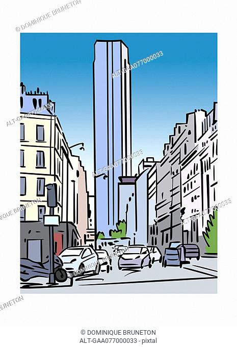 Illustration of Tour Montparnasse in Paris, France