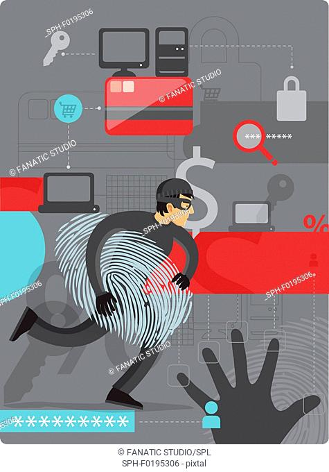 Illustration of internet identity theft