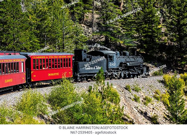 Cumbres & Toltec Scenic Railroad train on the 64 mile run between Chama, New Mexico and Antonito, Colorado. The railroad is the highest and longest narrow gauge...