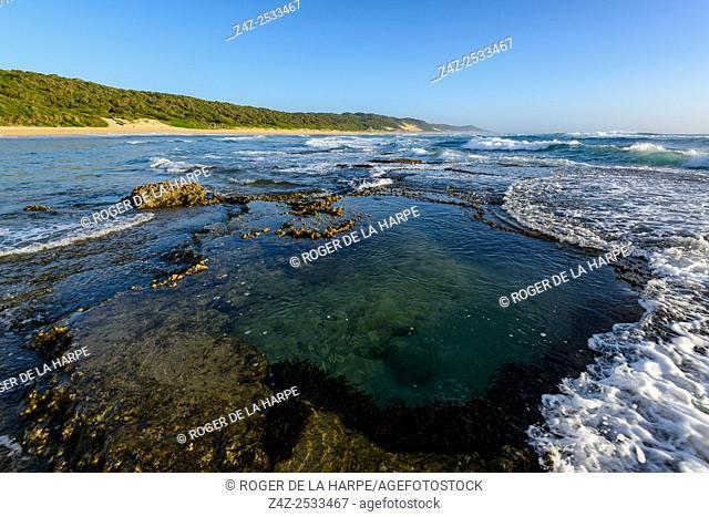 View of Maputaland coastline at Mabibi showing rock pools. iSimangaliso Wetland Park (Greater St Lucia Wetland Park). KwaZulu Natal. South Africa