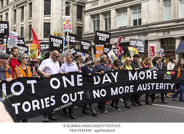 Diane Abbot, shadow cabinet minister holding banner at Not One Day More - Tories Out National Demonstration, an Anti-Government and Teresa May protest organised...