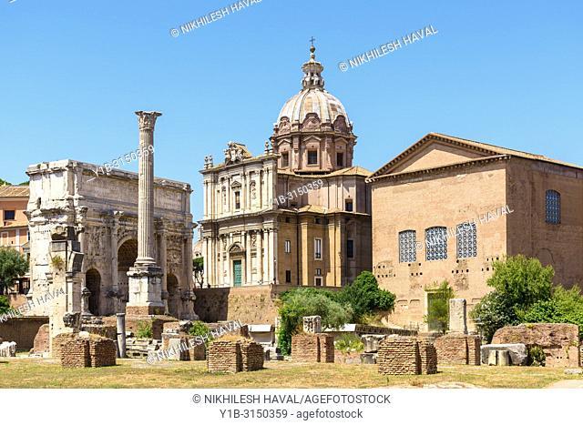 Column of Phocas & Curia Julia, Roman Forum, Rome, Italy