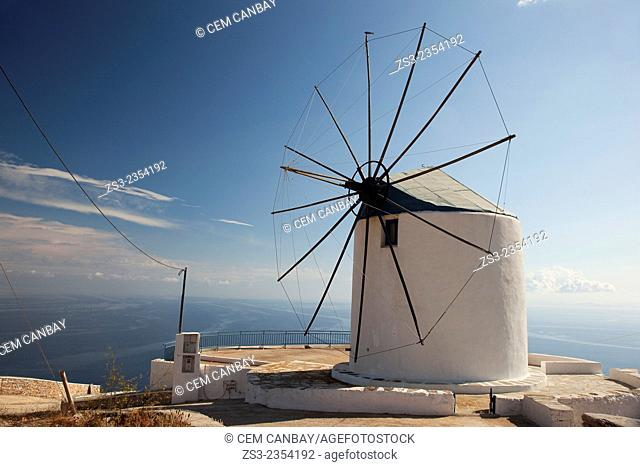 Windmill near the sea in Artemonas village, Sifnos, Cyclades Islands, Greek Islands, Greece, Europe