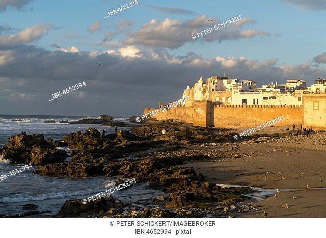 City wall and medina on the coast, evening atmosphere, Essaouira, Morocco