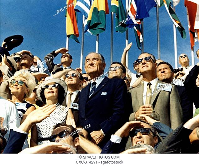 07/16/1969 -- Vice President Spiro Agnew right center and Former President Lyndon Johnson left center view the liftoff of Apollo 11 from the stands located at...