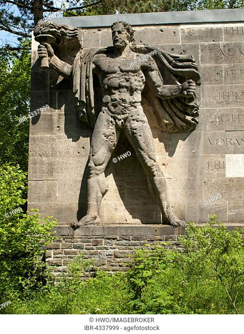 Sculpture torchbearer, representation of the Aryan master race Herrenmensch, Ordensburg Vogelsang, educational centre of the NSDAP from 1936-1939