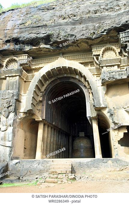 Part of Bhajas rock cut caves dating around 2nd century BC in hills near Lonavala , Maharashtra , India