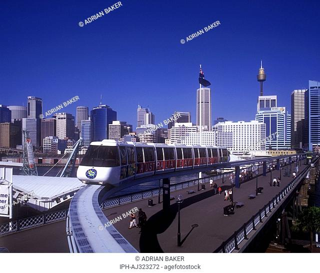 Train on the Metro Monorail at Darling Harbour, a recreational area on the Sydney waterfront