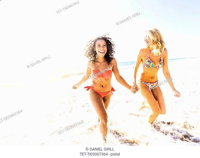 Female friends on beach