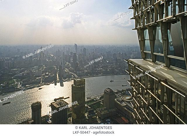 View from Jinmao Tower, Center of Pudong, Huangpu River, Fluss, Bund, city centre, Aussicht, observation platform, Aussichtspunkt, Jinmao, aus: Mythos Shanghai
