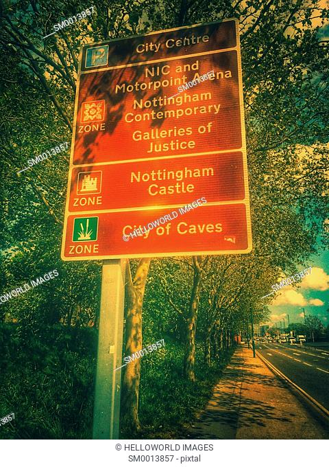 Information road sign and trees, Nottingham, Nottinghamshire, east Midlands, England