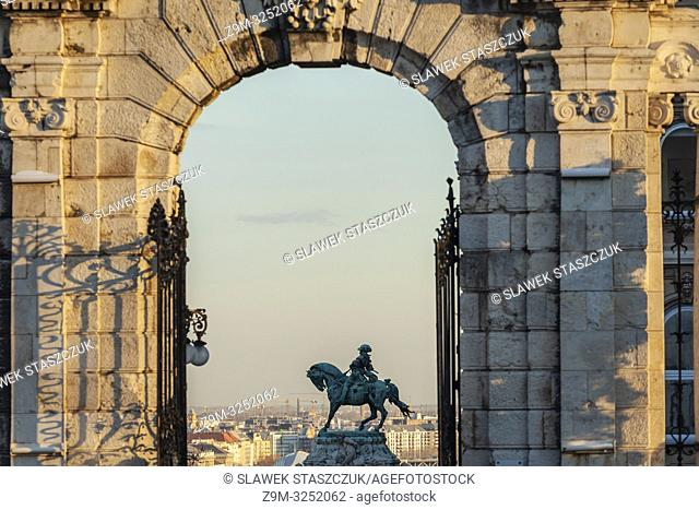 Afternoon at Buda Castle in Budapest, Hungary. Prince Eugene de Savoy statue in the distance