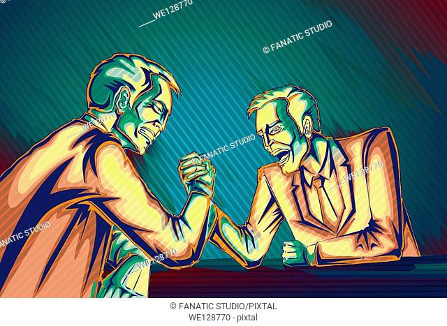 Illustrative image of businessmen arm wrestling representing business war