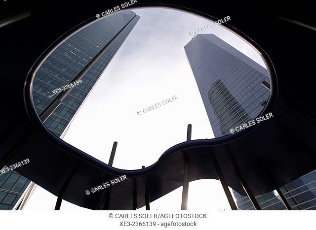 Torre de Cristal and Torre Espacio. Cuatro Torres Business Area (Four Towers Business Area). Paseo de la Castellana. Madrid. Spain