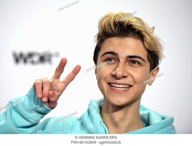 Musician Lukas Rieger poses on the red carpet before the 1Live Krone award ceremony at Jahrhunderthalle in Bochum, Germany, 1 December 2016