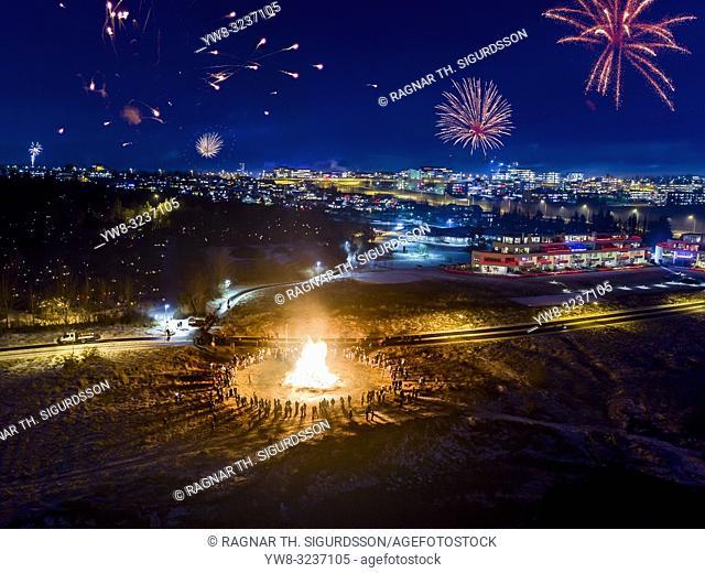 New Year's Eve Celebrations with bonfires and fireworks, Reykjavik, Iceland