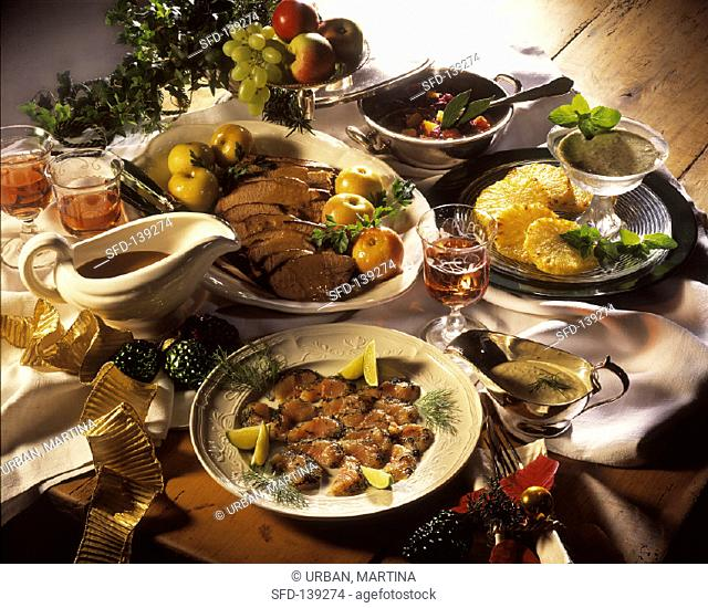 Christmas menu with fish, roast wild boar and pineapple (1)
