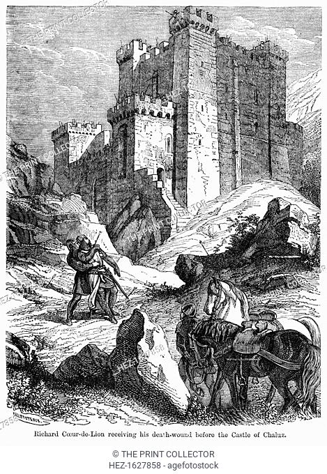 King Richard I (1157-1199) receiving his death wound before the castle of Chaluz, 19th century. Richard was King of England from 1189 to 1199
