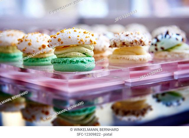 Various macarons in a display