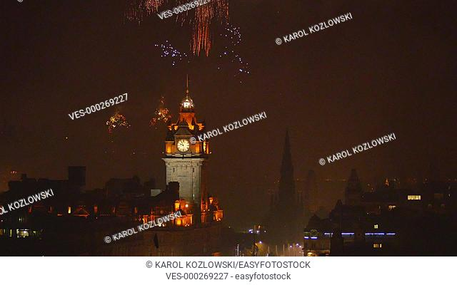 Fireworks during the last day of Summer Festival in Edinburgh – view from Calton Hill, Scotland, United Kingdom
