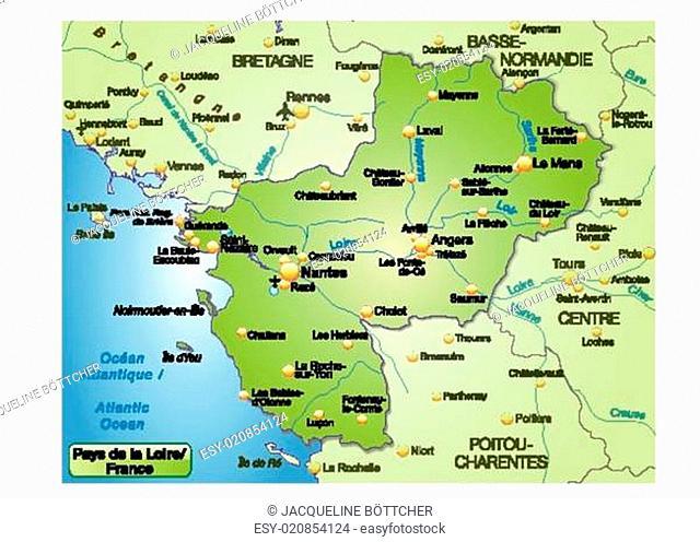 Nantes Karte.Map Of Pays De La Loire Stock Photos And Images Age Fotostock