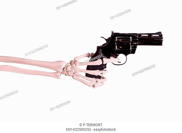 gun in skeleton hand