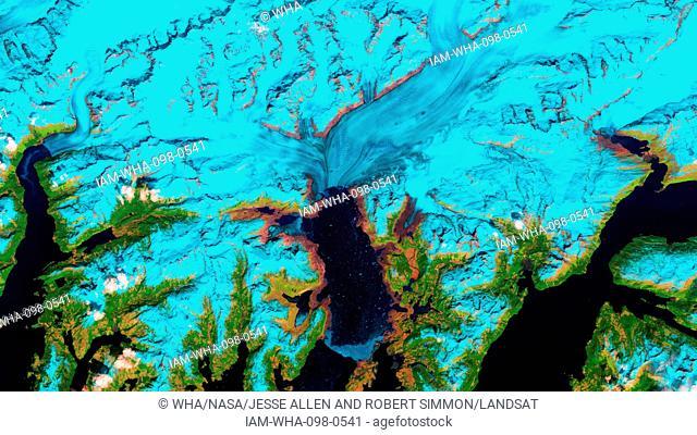 Retreat of Alaska's Columbia Glacier; Satellite image shows the state of glacier melting in 2006
