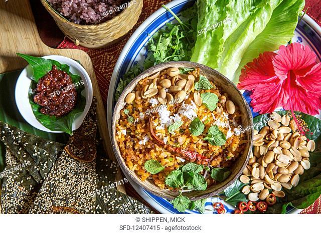 Lao-style rice salad, Mekong river weed and chilli dip (Luang Prabang, Laos)