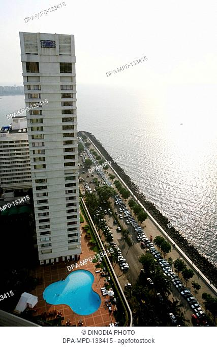 An aerial view of Hotel Hilton Towers at Marine Drive in Bombay Mumbai ; Maharashtra ; India
