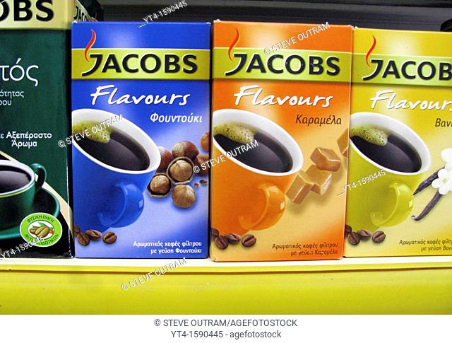 A display of Jacobs brand coffee, Crete, Greece