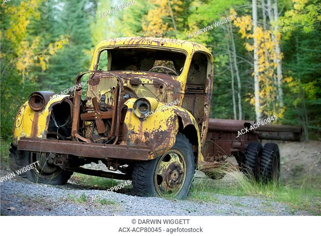 Old truck at the Brazeau Collieries, Nordegg, Alberta, Canada