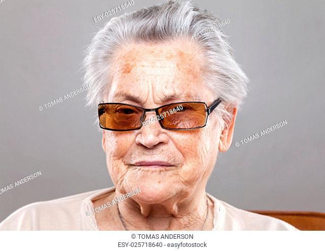 Closeup portrait of an elderly woman